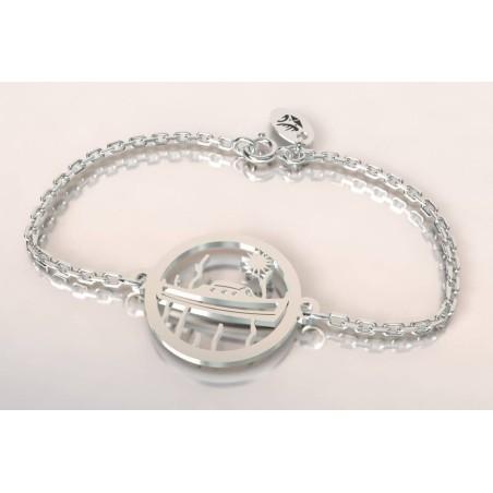 Bracelet créateur original mixte pinasse bateau argent