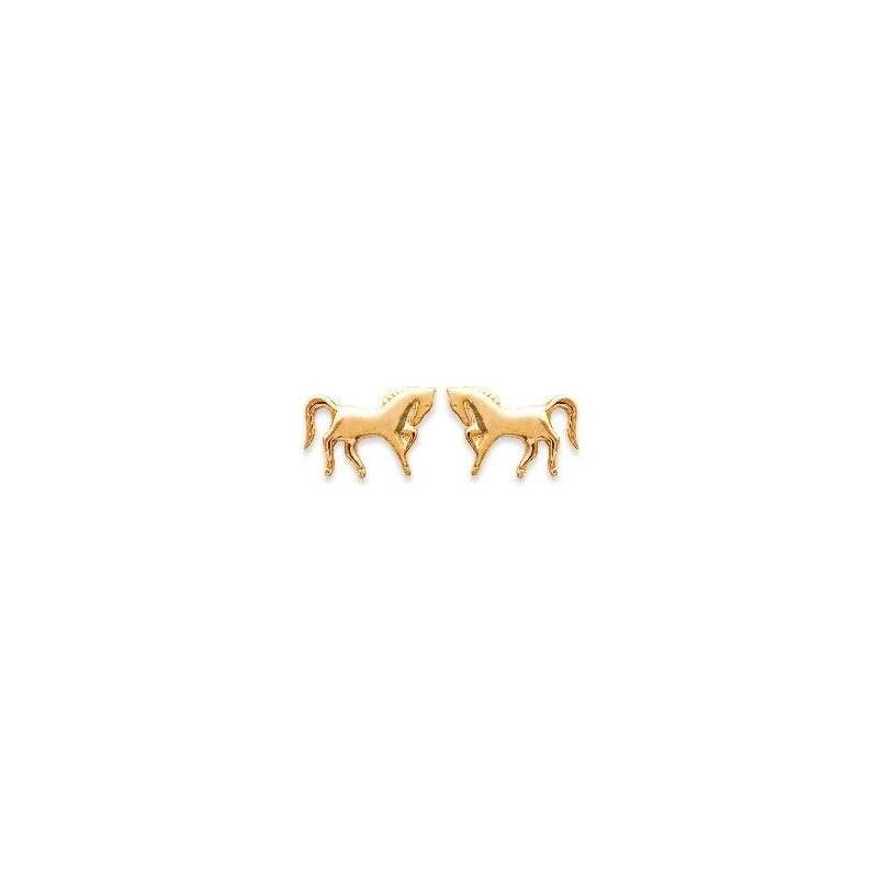 Boucles d'oreille enfant & femme en plaqué or - Cheval cabré - Lyn&Or Bijoux