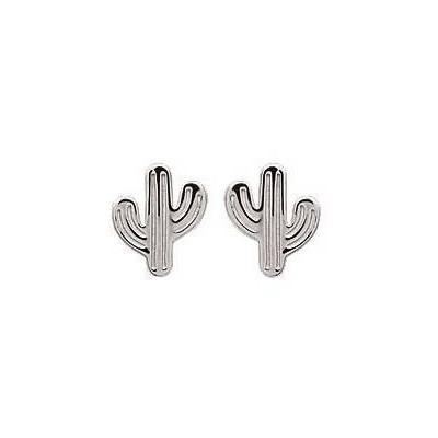 Boucles d'oreilles en argent rhodié - Cactus