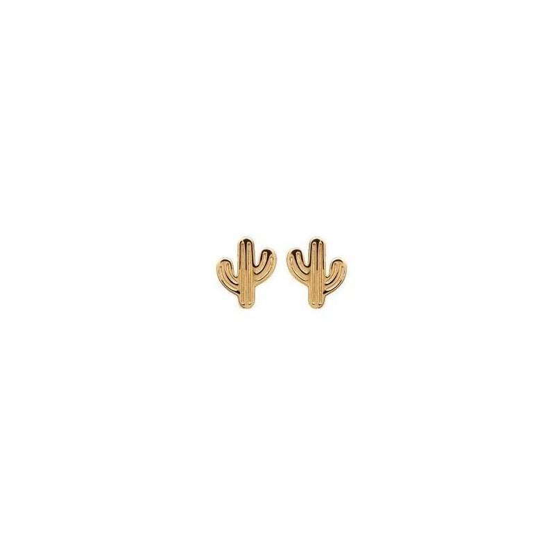 Boucles d'oreilles Cactus en plaqué or pour femme et fille - Lyn&Or Bijoux