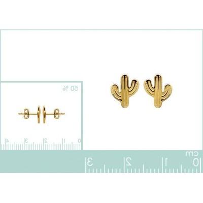 Boucles d'oreilles en plaqué or pour femme, Cactus