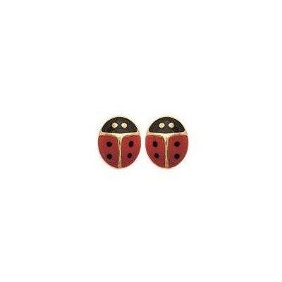 Boucles d'oreilles fillette plaqué or - Coccinelle rouge - Lyn&Or Bijoux