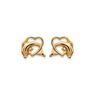Boucles d'oreilles Coeur et dauphin en plaqué or pour femme