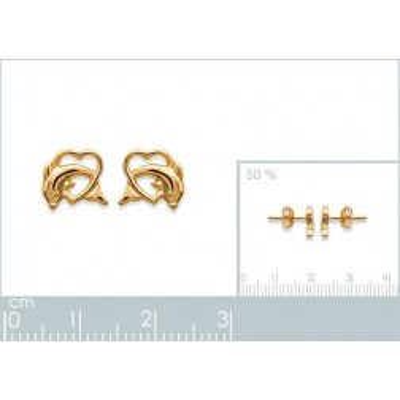 Boucles d'oreilles en plaqué or pour femme, Coeur et dauphin