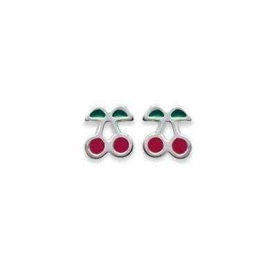 Boucles d'oreilles fillette en argent - Cerise rouge
