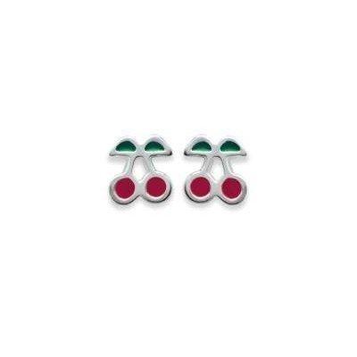 Boucles d'oreille fillette en argent - Cerise rouge - Lyn&Or Bijoux