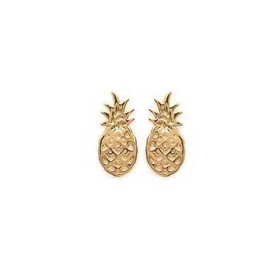 Boucles d'oreilles plaqué or - Ananas