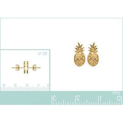 Boucles d'oreilles en plaqué or pour femme, Ananas