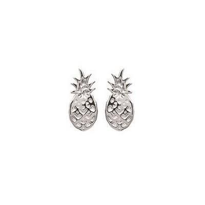 Boucles d'oreilles en argent rhodié - Ananas - Lyn&Or Bijoux