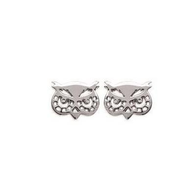 Boucles d'oreilles en argent 925 rhodié pour femme, Tête de hibou