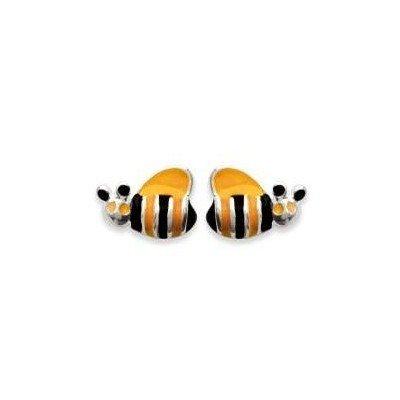 Boucles d'oreille fillette en argent - Abeille - Lyn&Or Bijoux
