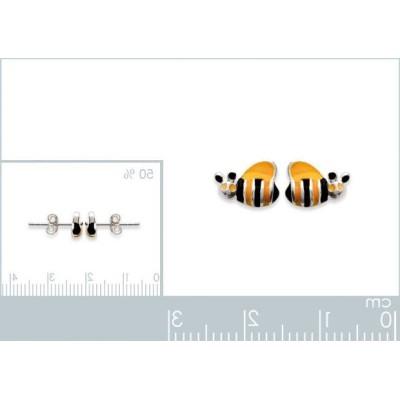 Boucles d'oreilles fillette en argent 925, motif Abeille