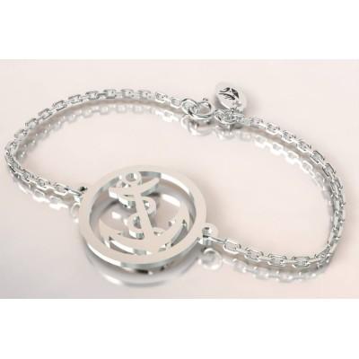Bracelet de créateur en argent - Ancre marine