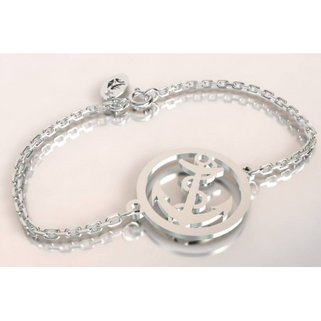 Bracelet créateur original mixte Ancre marine argent