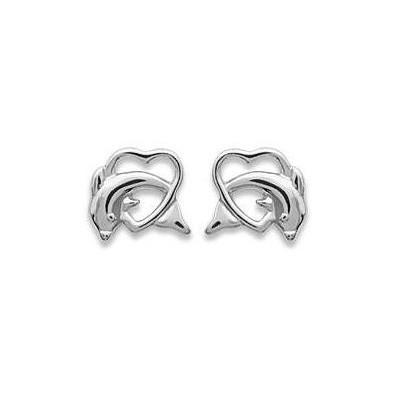 Boucles d'oreilles dauphin et coeur en argent 925 rhodié