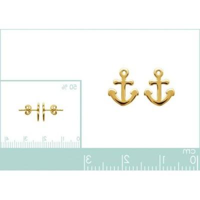 Boucles d'oreilles en plaqué or avec Ancre marine