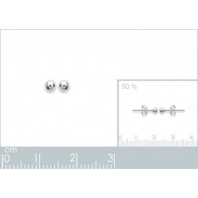 Perles d'en argent 925 boucles d'oreilles puce, diamètre 3 mm