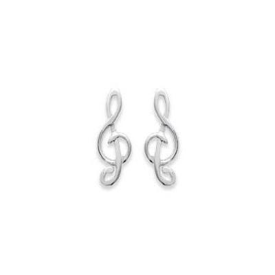 Boucles d'oreilles Clé musicale en argent pour femme
