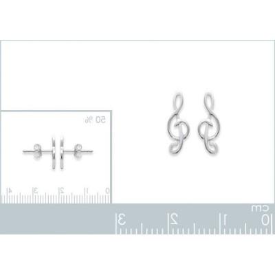 Boucles d'oreilles en argent 925 millièmes pour femme, Clé-de-Sol