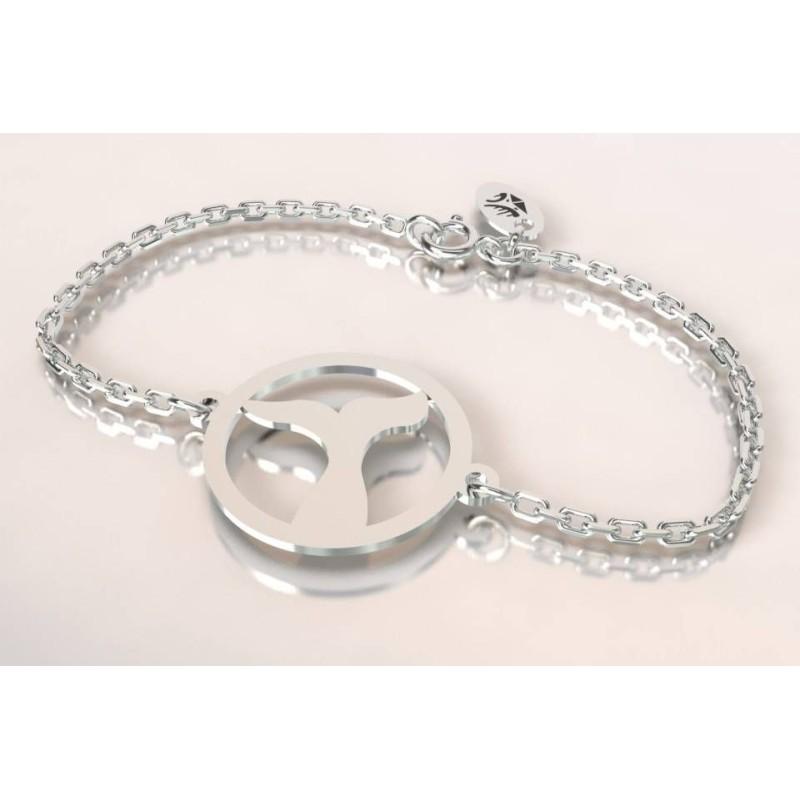 Bracelet créateur original mixte baleine argent