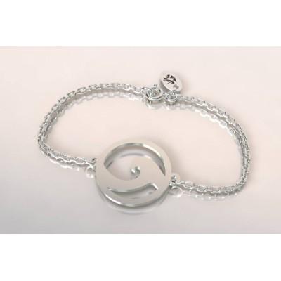 Bracelet créateur original mixte vague argent