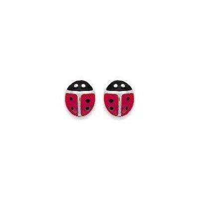 Boucles d'oreilles enfant en argent - Coccinelle rouge - Lyn&Or Bijoux