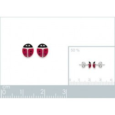 Boucles d'oreilles fillette en argent 925, motif Coccinelle rouge