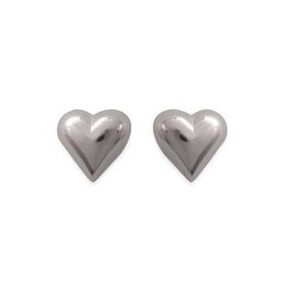 Boucles d'oreilles en argent rhodié - Coeur-battant - Lyn&Or Bijoux