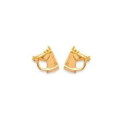 Boucles d'oreilles plaqué or - Tête de cheval