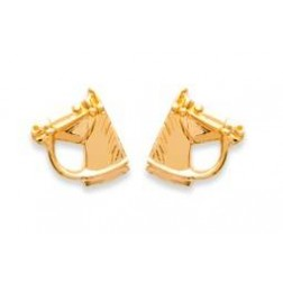 Boucles d'oreilles Tête de Cheval en plaqué or pour femme