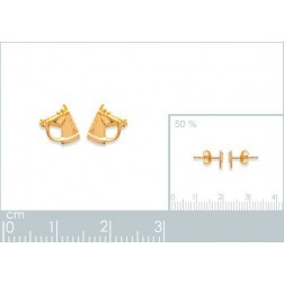 Boucles d'oreilles en plaqué or pour femme, Tête de Cheval