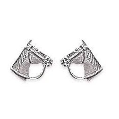 Boucles d'oreilles en argent rhodié - Tête de cheval