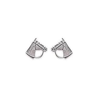 Boucles d'oreilles en argent rhodié pour femme, Tête de cheval