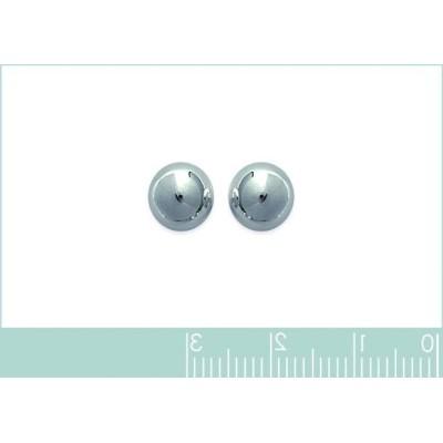 Perles d'en argent 925 boucles d'oreilles puce, diamètre 8 mm