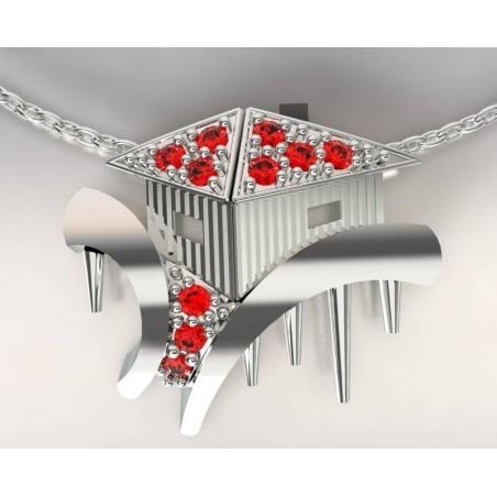 Collier créateur femme cabane tchanquée argent, topaze rouge