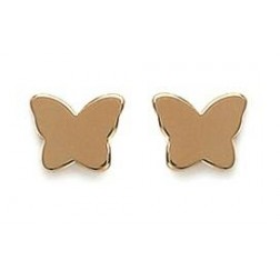Boucles d'oreilles fillette plaqué or - Papillon
