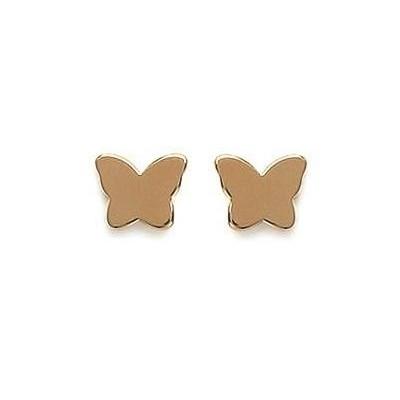 Boucles d'oreilles fillette en plaqué or 925, motif Papillon
