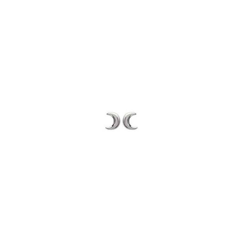 Boucles d'oreilles en argent rhodié pour femme - Lune - Lyn&Or Bijoux