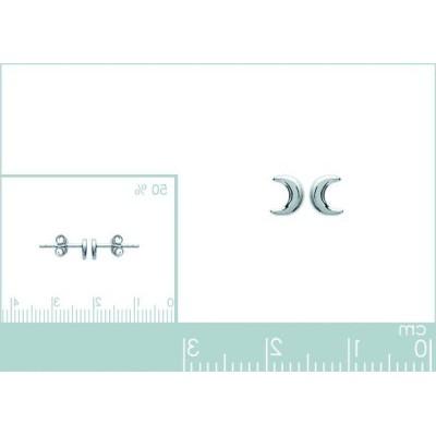 Boucles d'oreilles Lune en argent 925 millièmes rhodié pour femme