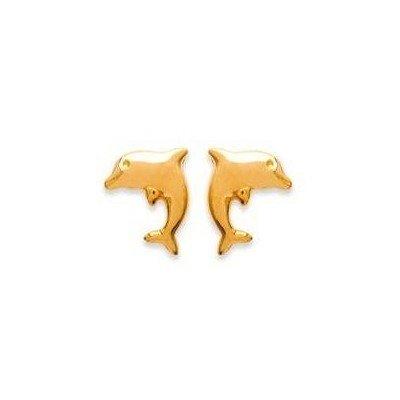 Boucles d'oreille enfant & femme en plaqué or - Dauphin - Lyn&Or Bijoux