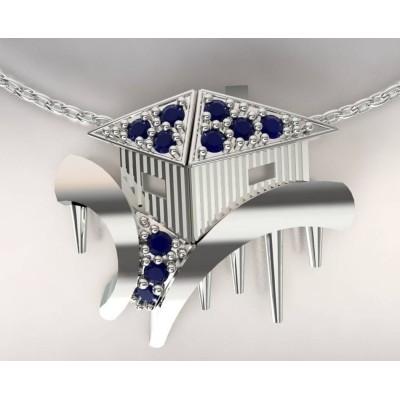 Collier créateur femme cabane tchanquée en argent, topaze bleu marine