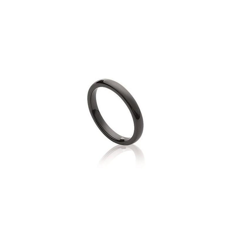 Bague anneau de céramique noire pour femme - Sygma - Lyn&Or Bijoux