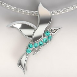 Collier femme, Topazes turquoises & argent - Mouette cayouckette