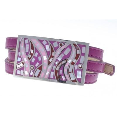 Bracelet 3 lanières cuir violet - acier et émail Coloré - Gamy's
