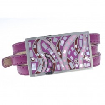Bracelet 3 lanières cuir violet, acier et émail Coloré, Gamy's