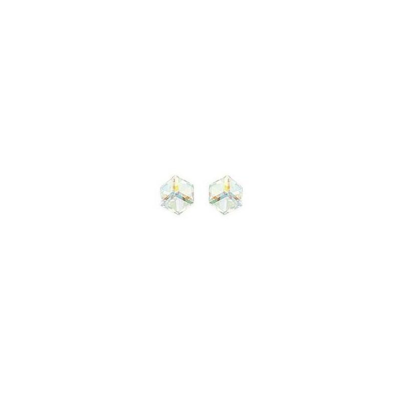 boucles d'oreilles en cristal, cube blanc irisé, pour femme