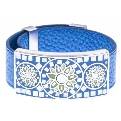 Bracelet Gamy's cuir noir 2 cm, acier et émail Coloré, Swiny