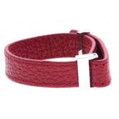 bracelet modulale en cuir rouge Odena, 1 cm pour femme