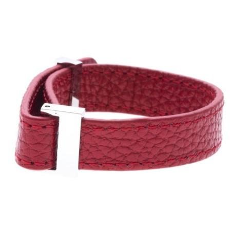Bracelet manchette pour femme, en cuir amovible blanc 1 cm