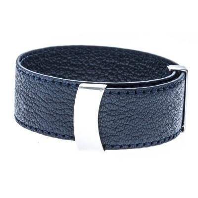 bracelet modulale en cuir bleu foncé 2 cm Odena pour femme